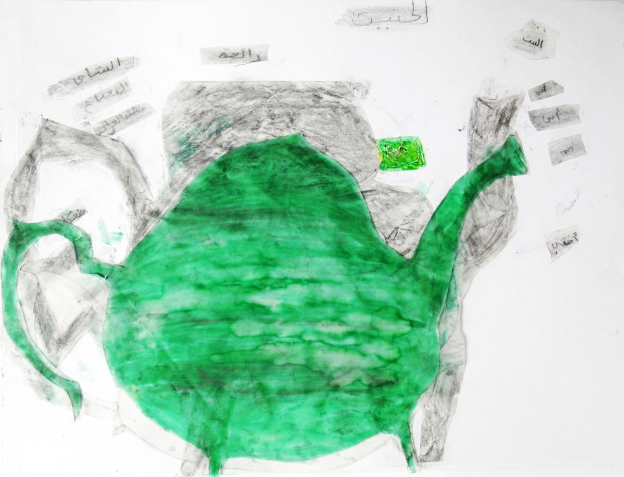 Collage drawing of a teapot