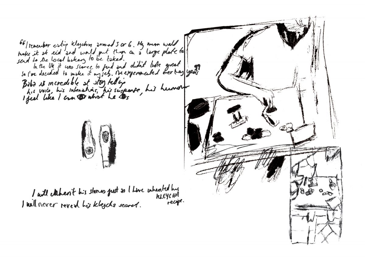 Pen sketch and writing