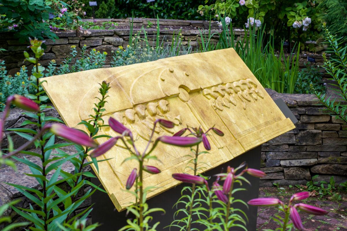 sculpture in a garden setting